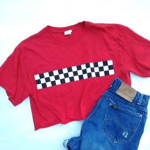 Gildan • racecar stripe cropped red tee